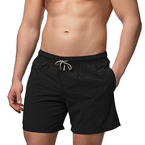 Herren Badeshorts - in vielen trendigen Farben - Badehose Bermudashort (XXL, Black)