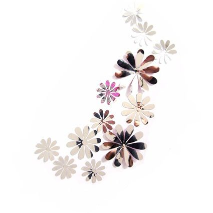 12 Unds Pegatinas de pared adhesivo decorativo flores acrilico de espejo efecto 3D color plata