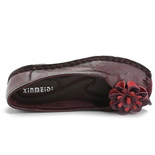 L@YC® Damen Leder flache Bodenschuhe weiche Unterseite Retro Plattform Pumpen Satin Hochzeit Ball Schuhe / rot / schwarz Red