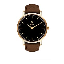 Tempus 40mm Black and Gold with Brown suede strap