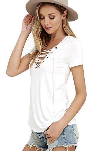 GBT Sexy Tinta UNITA Benda magliette con lo Scollo A V Bianco