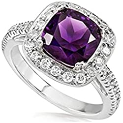 Top Quality Elegant Designer Amethyst Gemstone A+++ Cz Diamonds Silver Rings for Women Girls Gift