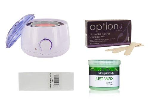 all-in-one-waxing-kit-with-tea-tree-wax-wax-heater-strips-and-spatulas-wax-kit