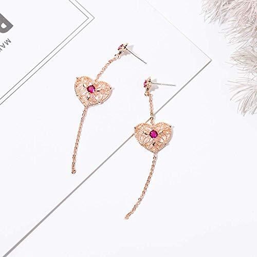 Gold Ohrringe Damen Lange Mode Herz Persönlichkeit Ohrringe