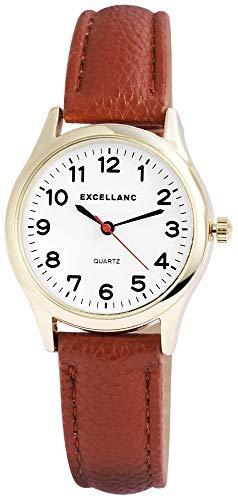 Excellanc Damenuhr Weiß Braun Rosègold Analog Metall Kunst-Leder Quarz Armbanduhr