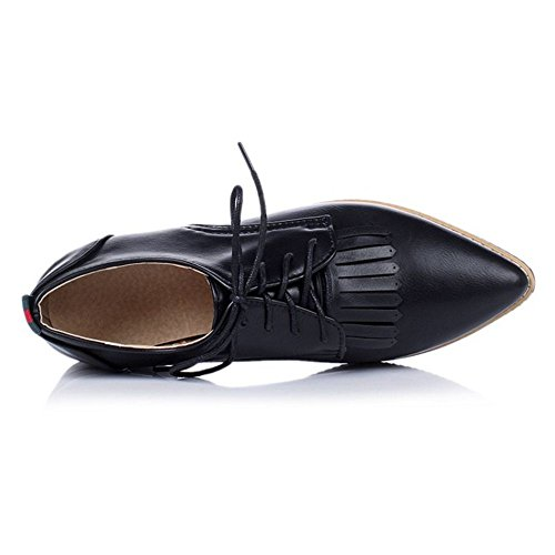 COOLCEPT Damen Klassische Schnurung Schuhe Slip On Pumps Mit Fransen Schwarz