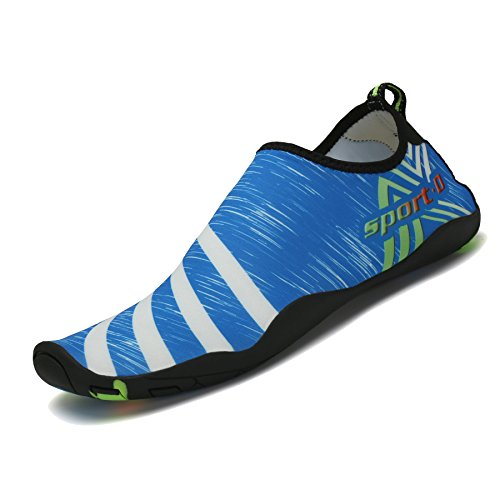 SAGUARO® Badeschuhe Wasserschuhe Sommer Schnell trocknend Schwimmschuhe Slip on Aquaschuhe Strandschuhe für Damen Herren Blau 44