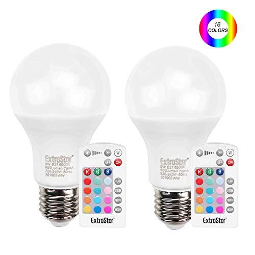ExtraStar 9W LED Base Classic RGBW Lampe, in Kolbenform mit E27 Sockel, dimmbarkeit und 16 Farbsteuerung per Fernbedienung, Ersetzt 72 Watt, 2er-Pack [Energieklasse A+] -