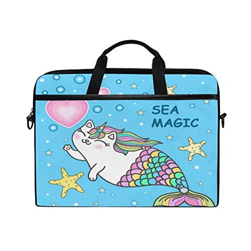Laptop-Schutzhülle, süße Katze Meerjungfrau-Muster, 3 Schichten mit strapazierfähigem Reißverschluss für Lenovo HP MacBook Pro Neopren Notebook 14 15 15,4 Zoll -