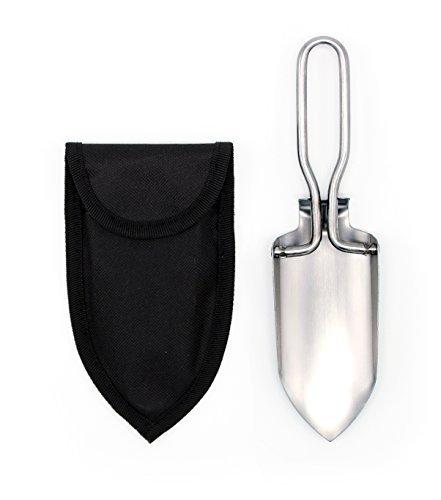 Inet-Trades Mini pelle pliante avec sacoche de rangement Argenté