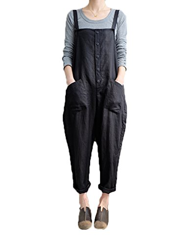 VONDA Damen Latzhose Retro Lange Overall Größe Jumpsuit Baggy Sommerhose Schwarz 3XL/EU48