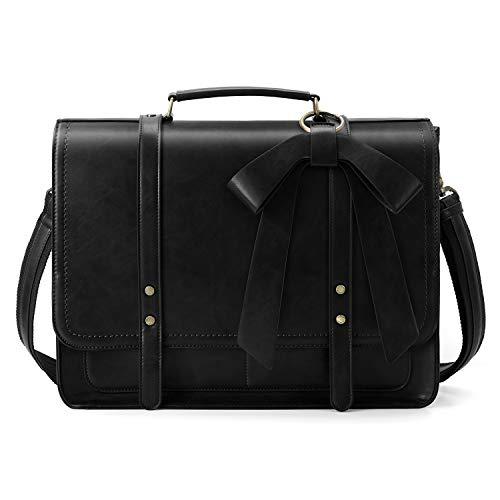 ECOSUSI Aktentasche Damen Laptoptasche 15,6 Zoll Vintage Umhängetasche mit Abnehmbarer Schleife Schultasche Schwarz - Damen-aktentaschen