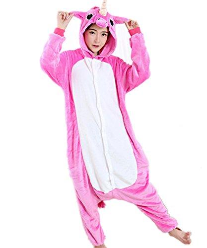 Unisex Einhorn Kostüm Pyjamas Tier Schlafanzug Karton Jumpsuit Nachthemd Erwachsene Fasching Cosplay Overall (L für 168-177CM, Rose)