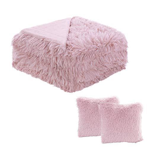 sourcing map Weiches Kunstfell Blanket-Long Shaggy Fleece Faser Bett Decke Home Dekoration, Überwurf/Twin/Full/Queen Size, Dunkelrosa, Throw-2 Cushion Covers Set -