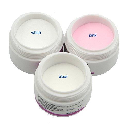 Coscelia 3PCs Poudre Cristal Acrylique Transparent Rose Blanc Faux Ongle Nail Art Décor