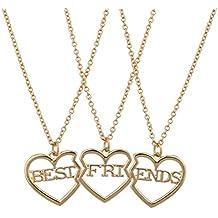 LUX accesorios Best Friends BFF corazón partido collar Trio Set