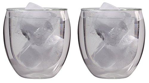 Renberg, 2x 340ml (410ml randvoll) doppelwandiges Gläser-Set, Kaffee Latte Macchiato in farbiger Box