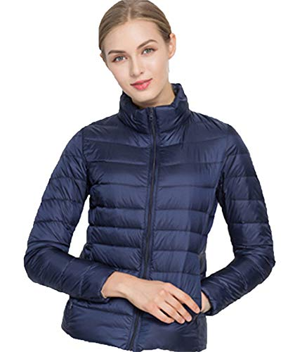 Sytiz New Winter Down Coat Women Warm Chic Parkas Solid Stand 90% White Duck Long Sleeve Jackets Light Slim Autumn Navy Blue XL Womens Lauren Trench