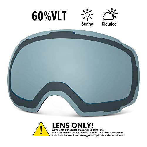 OutdoorMaster Ski Goggles PRO Replacement Lens - 20 (VLT 60% L.Blue Lens with Free Carrying Pouch)