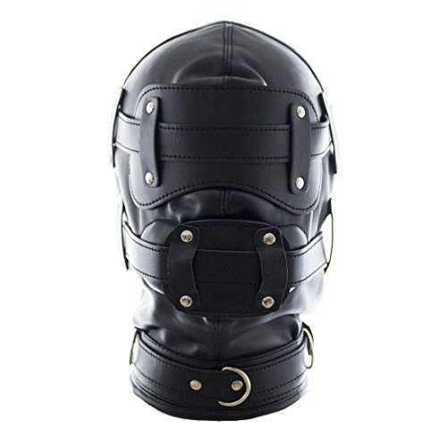 FeiGu Black Leather Bondage Gimp Mask Head Hood T6 (Weibliche Gimp Kostüm)