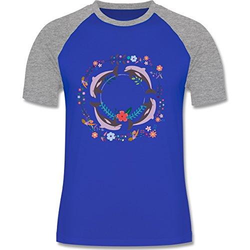 Vintage - Vintage Delfine Blumen Dolphin Flowers - zweifarbiges  Baseballshirt für Männer Royalblau/Grau meliert