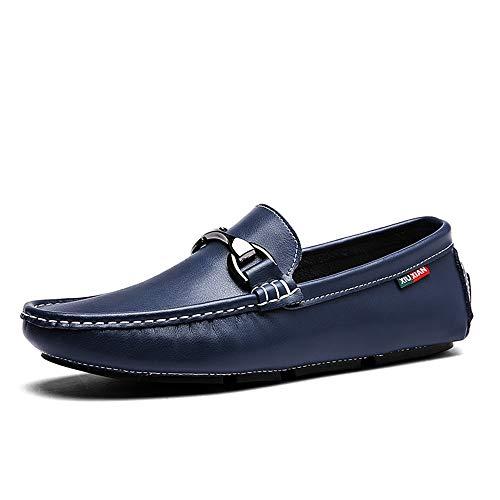 Apragaz Driving Loafer Für Herren, Mode Leder Metallic Dekoration Boot Mokassins Gemütliche Reine Nähte Flache Schuhe (Color : Blau, Größe : 38 EU) Metallic-leder-boot
