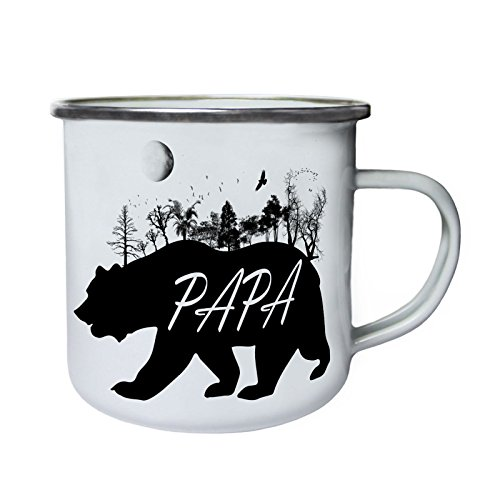Papa Bär wilde Natur Retro, Zinn, Emaille 10oz/280ml Becher Tasse u338e