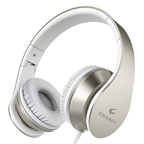 Crabot I65 Auriculares con Micrófono, Hi-Fi Deep Bass Auriculares, Auriculares de Diadema, plegable auriculares con cable de audio de 3,5 mm para PC/Iphone/Ipad / Samsung para niños y adultos