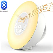 Home-Neat Despertador Reloj Digital con Alarma Luz Nocturna Lámpara LED Wake Up Light con Sonidos Naturales&Radio FM& Bluetooth