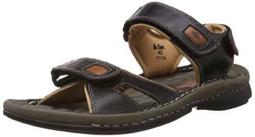 Lee Cooper Men's Black Leather Outdoor Sandals - 10 UK