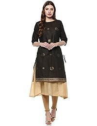 Janasya Women's Beige Chanderi Cotton Layered & A-Line Embellished Kurta