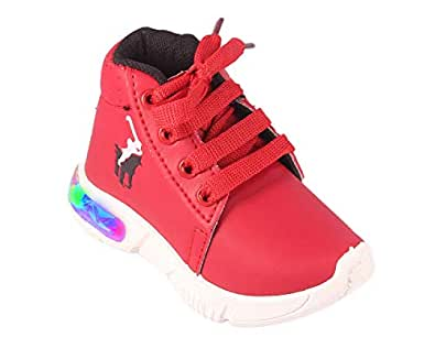 Rgk's LED Lights Mary Jane Shoes Sandals Slippers Booties for Baby Boys Girls of 1.5 Years | 2 Years | 2.5 Years | 3 Years | 3.5 Years | 4 Years | 4.5 Years (2-2.5 Years) Red