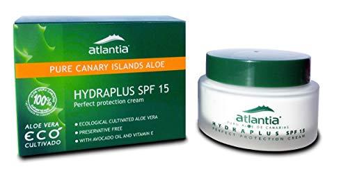 50 ml Hochwertige Gesichtsschutz Creme Kanarische Bio Aloe Vera mit Avocadoöl, Vitamin E und UVA/B Filter 15+. Ohne Konservierungsstoffe. Natürliche Anti Aging Feuchtigkeitscreme