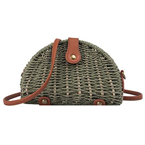 en Damen Damen Mode Retro Gewebte Umhängetasche Einfarbige Handtasche Gewebte Tasche Strandtasche Grün ()