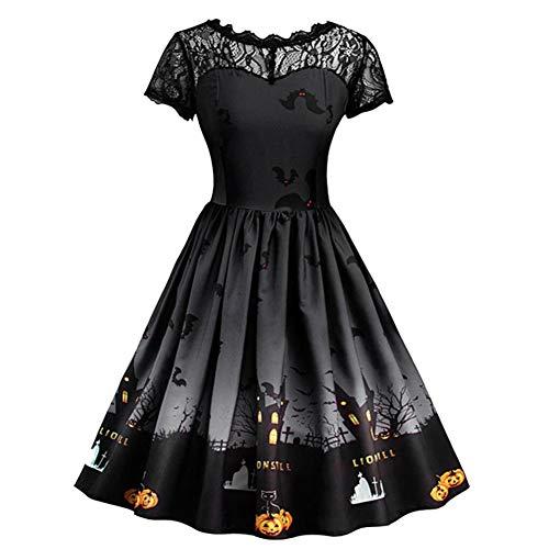 KJH21 Erwachsenen-Kleid, Halloween-Kleid für Frauen, Bedruckt, Party-Kostüm, kurzärmelig, Spitze, Stickerei, Vintage-Kleid, Kürbis gruselig, Böses Abendkleid, Schwarz, XX-Large