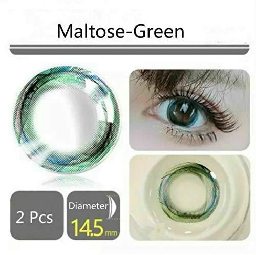NO LOGO 2ST Farbige Kontaktiert Objektive 1 Jahr Kreis Make-up, 0.00 Dioptrien (Farbe : Grün)