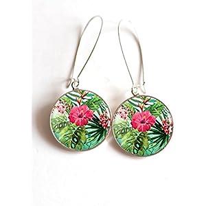 Ohrringe cabochon die tropischen Palme Tropen hybiscus Blumen