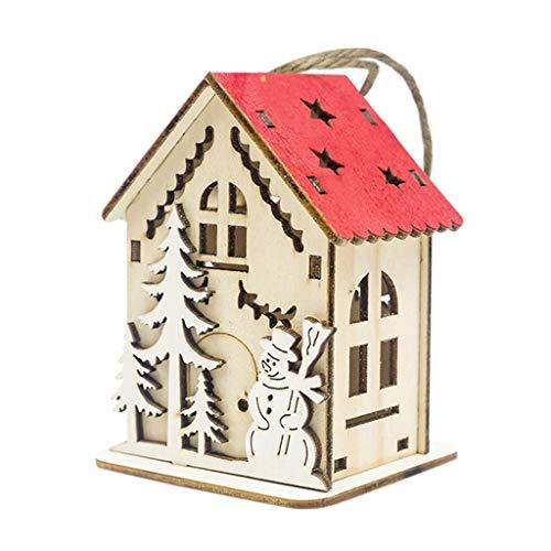 About1988 Weihnachtsdeko Holz beleuchtet LED Weihnachtshaus Fröhliche Weihnachten mit 3D Effekt Lichterhaus Weihnachten, Weihnachtsdeko Weihnachtsdorf Lichterhaus Fensterdeko (D)