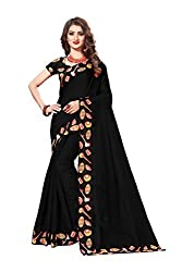 Bhuwal Fashion Womans chanderi silk kalamkari saree with Blouse (black)