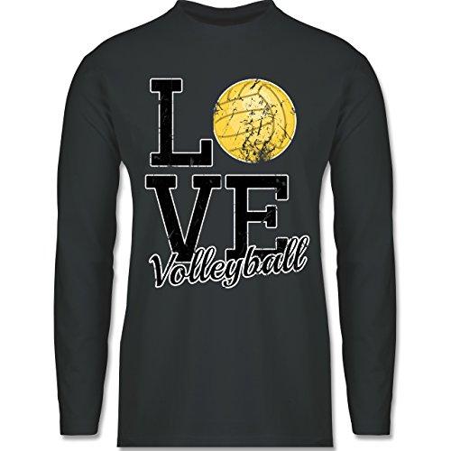 Shirtracer Volleyball - Love Volleyball - Herren Langarmshirt Dunkelgrau