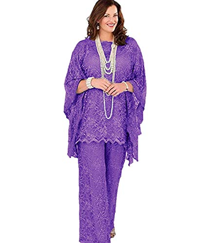 Pretygril Frauen 3 Stück Elegante Tüll Spitze Mutter der Braut Kleid Hose Anzüge Halbarm Mit Schal Jacke für Hochzeit(US 20 Plus, lila) -