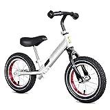 Laufräder Weißes Balance-Fahrrad mit niedrigem Rahmen für Kleinkinder 1,5-5 Jahre alt, Trainingsrad mit Gummirädern für Kinder, Kinderfahrrad