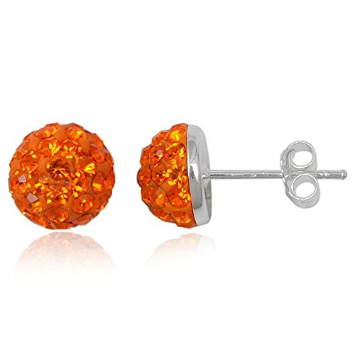 EYS JEWELRY Damen-Ohrstecker Halbkugel 925 Sterling Silber Preciosa Elements Glitzer Kristalle 8 x 8 mm sonnen-orange Ohrringe -