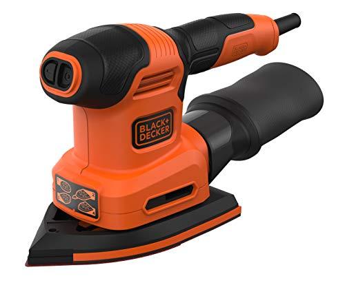 BLACK+DECKER BEW200-QS Lijadora 4 en 1 Mouse/Rotorbital, 200 W, incluye 6 hojas, 2 platinas y accesorio para detalles,