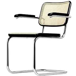 Thonet S 64 V Chaise en cantilever avec accoudoirs en bois de hêtre teinté Noir