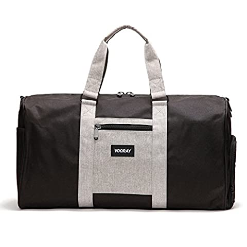 Vooray Trepic 43L Weekender Duffle Bag with Shoe Pocket and Laundry Bag, Black/Heather Gray