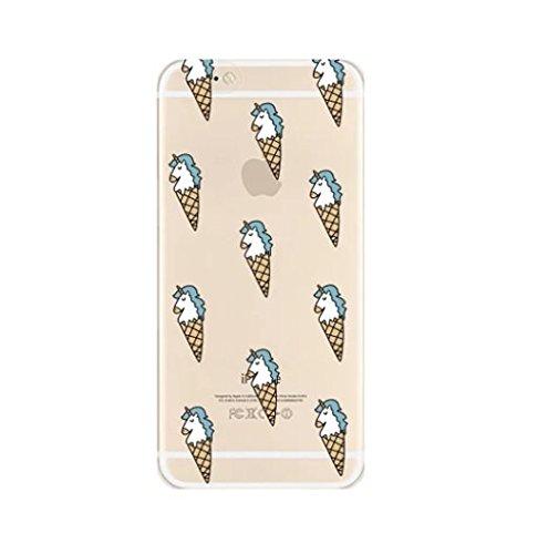 Coque Iphone 5 , 5s et 5SE en Gel silicone souple transparent , licorne fun , flamant , cactus , fantome , love , Licorne arc en ciel caca Licorne glace
