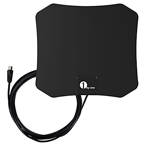 1byone DVB-T/ DVB-T2 Zimmerantenne für DVB-T kompatible Fernseher, Hauchdünn (0,5mm) für besten Empfang von VHF/UHF/FM, mit 3 Meter High Performance Kabel-Schwarz