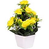 PG Creations Roses Flower Bunch Artificial Flower Plant With Plastic Vase Pot ( Size 25 Cm | Yellow )