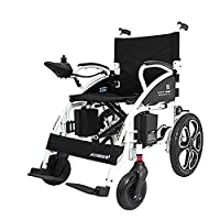 EMOGA Fold Foldable Power Compact Mobility Aid Wheel Chair, Lightweight Folding Carry Electric Wheelchair, Motorized Wheelchair, 250 * 2 Motor Wheelchair